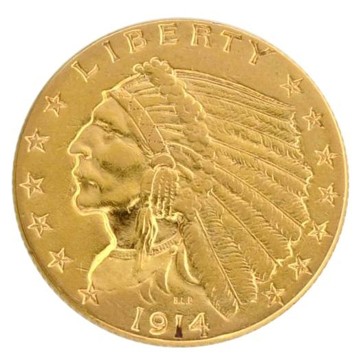 1914 $2.5 U.S Indian Head Type Gold Coin - Investment