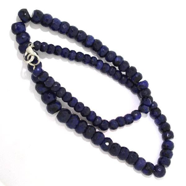 APP: 3.7k Blue Sapphire Bead Strand Necklace