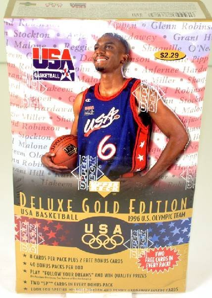 Box of Upper Deck Deluxe U.S. Olympic Basketball Cards