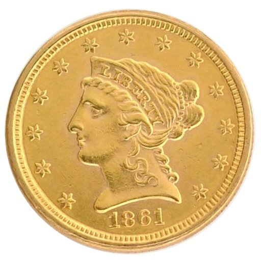 1861 $2.5 U.S Liberty Head Type Gold Coin - Investment