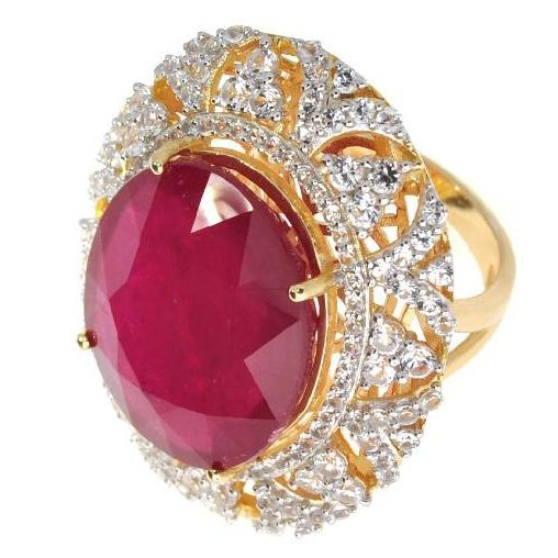 APP: 21k Ruby & Sapphire Gold Over Silver Ring
