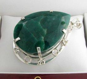 APP: 37k 509CT  Pear Cut Emerald & Sterl Silver Pendant