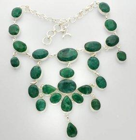 APP: 21k 228CT Mixed Beryl Emerald Necklace