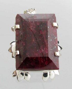 APP: 19k 277CT  Emerald Cut Ruby & Sterl Silver Pendant