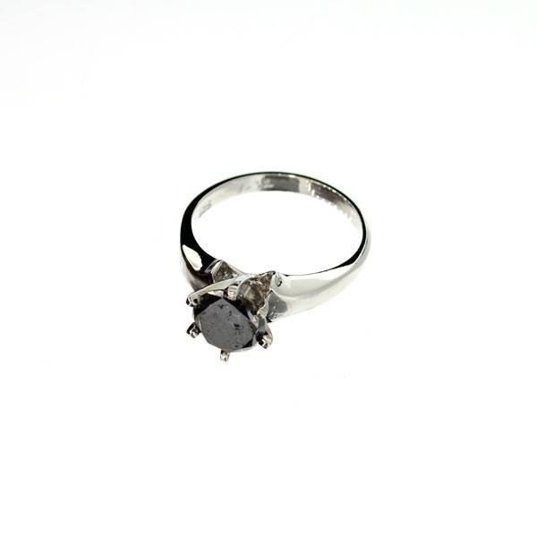 APP: 2k 1.32CT Rare BlackDiamond & Sterling Silver Ring
