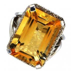 APP: 3k 12CT Citrine & Diamond Over Silver Ring