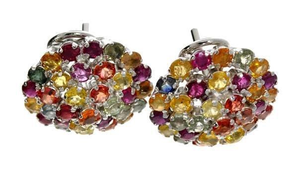 APP: 5k 6CT Multi-Color Sapphire & Silver Earrings