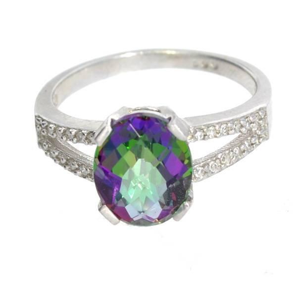 APP: 1k 3CT  Mystic Topaz & Diamond Over Silver Ring