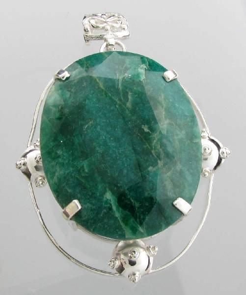 APP: 10k 237CT  Oval Cut Emerald & Sterl Silver Pendant