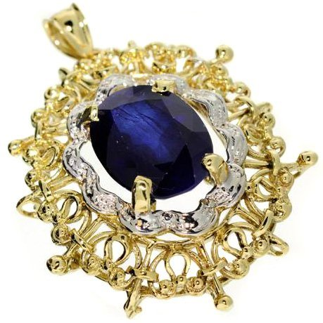 APP: 22.4k 12.73CT 14 kt. Gold, Blue Sapphire Pendant