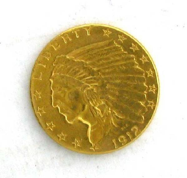 1912 $2.5 US Indian Head Type Gold Coin - Investment