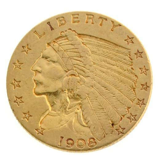 1908 $2.5 US Indian Head Type Gold Coin - Investment