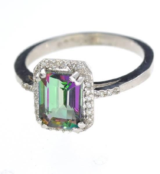 APP: 1k 1CT  Mystic Topaz & Diamond Over Silver Ring