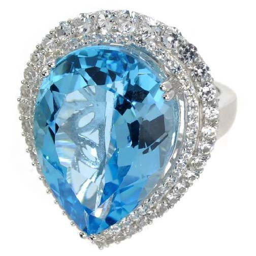 APP: 9k 38CT Pear Cut Topaz & Sapphire Over Silver Ring
