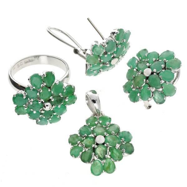 APP: 28k 14CT Emerald & Ring Pendant, & Earrings Set