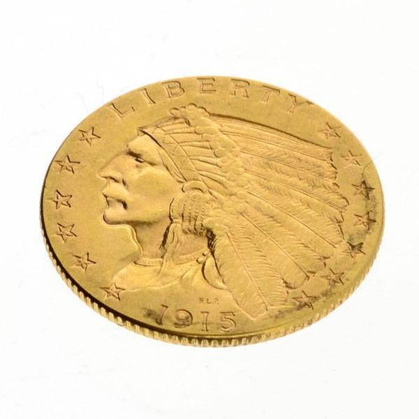 1915 $2.5 US Indian Head Type Gold Coin - Investment