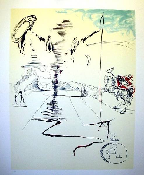 SALVADOR DALI Chevalier Print, Limited Edition