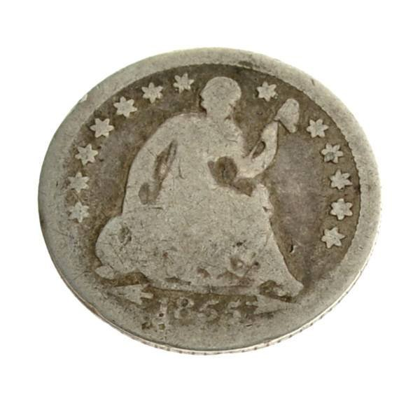 1855 Arr. Liberty Seated Half Dime Coin - Investment