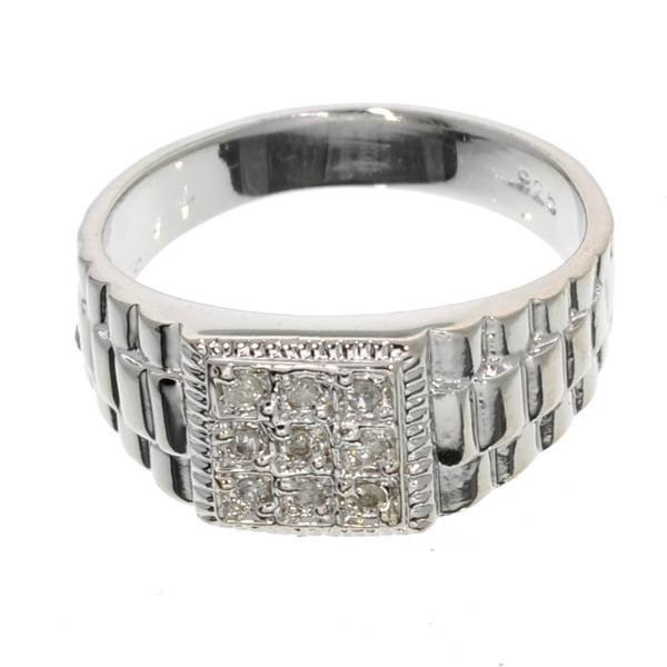 APP: 1k 0CT  Round Cut Diamond & Over Sterl Silver Ring