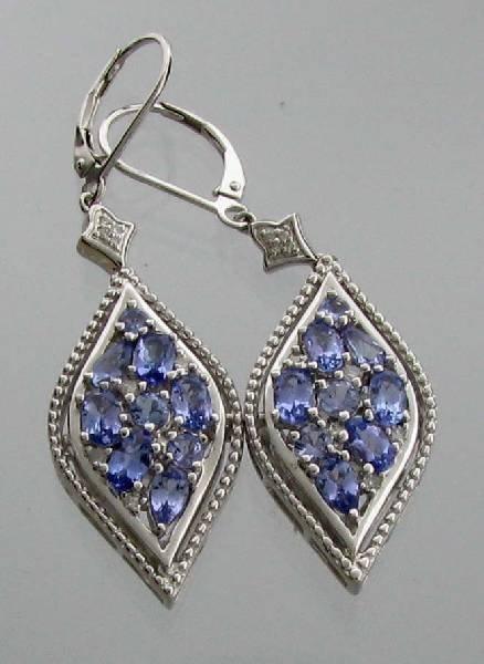 APP: 2k 3CT  Tanzanite & Diamond Sterl Silver Earrings