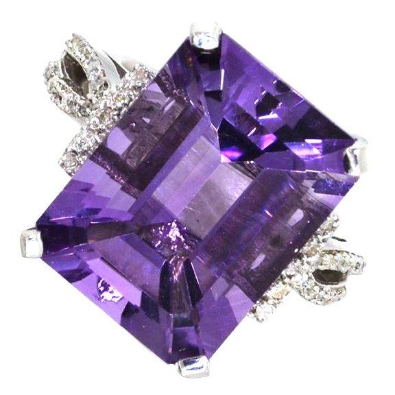 APP: 4k 11CT Amethyst & Diamond Over Silver Ring