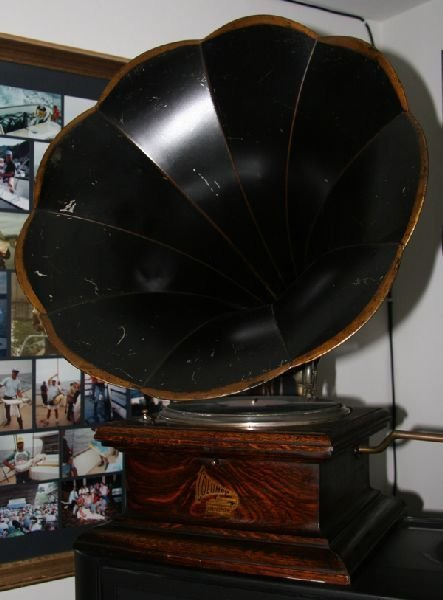 Early Large Horn Phonograph-Plays Perfectly