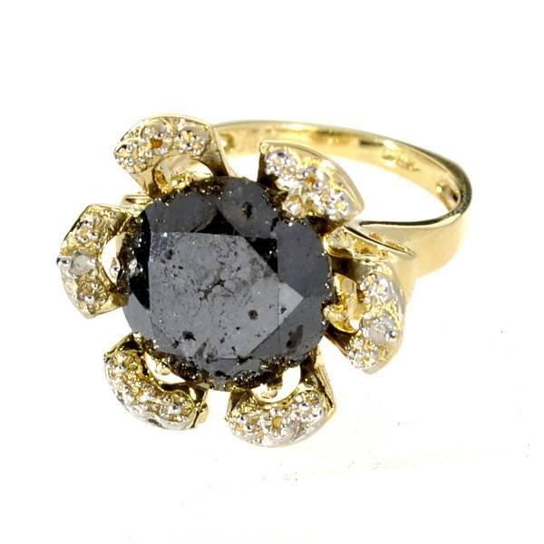 APP: 18k 14kt Yellow & White Gold, Black Diamond Ring