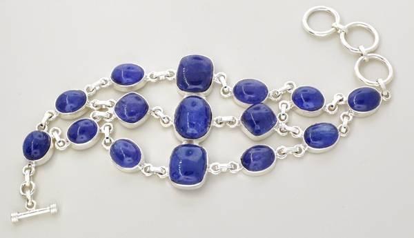 APP: 76k 177CT  Mixed Cut Tanzanite & Silver Bracelet