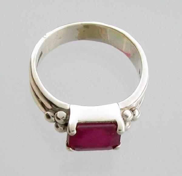 APP: 3k Sebastian 3CT  Emerald Cut Ruby & Silver Ring