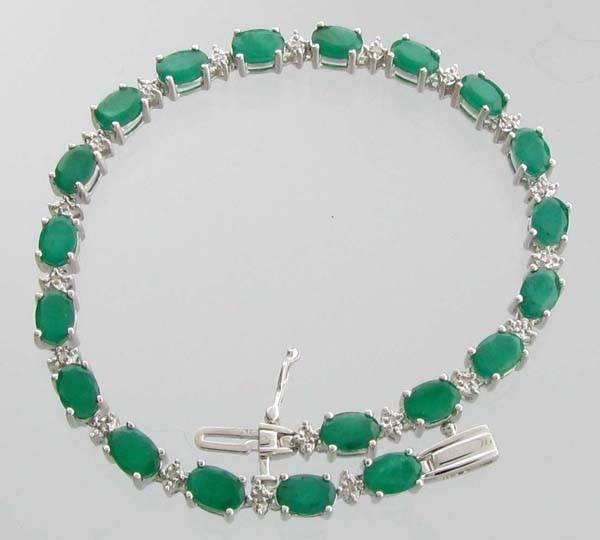 APP: 5k 8CT  Emerald & Diamond Sterl Silver Bracelet