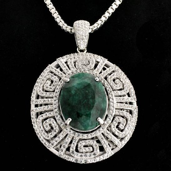 APP: 11k 26CT Emerald & Sapphire Over Silver Necklace