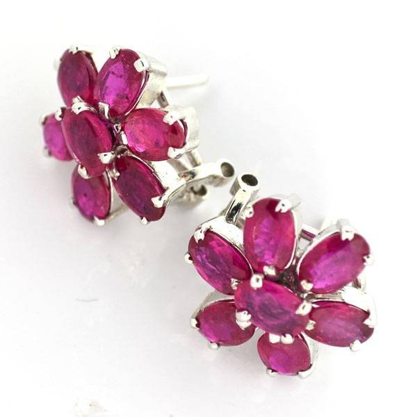 APP: 8k 5CT  Oval Cut Ruby Over Sterl Silver Earrings