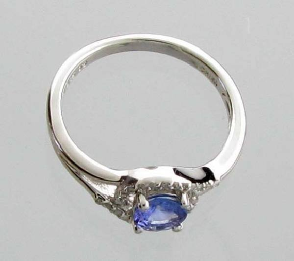 APP: 1k CT  Tanzanite & Diamond Plat Sterl Silver Ring