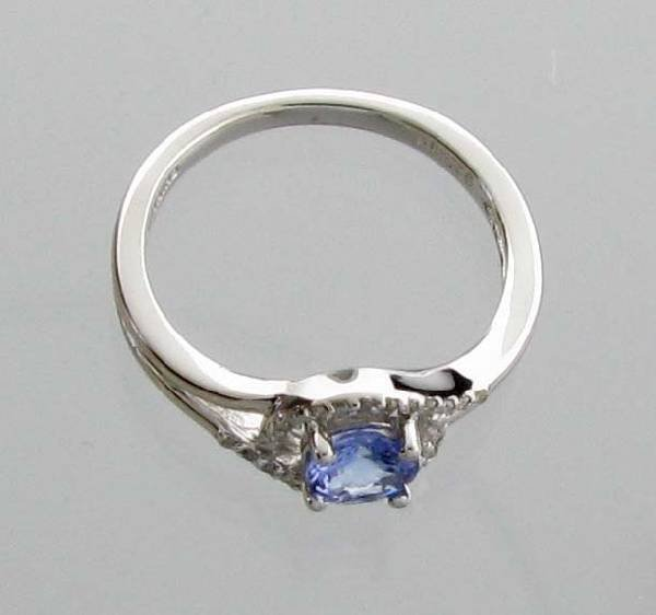 APP: 1k CT  Tanzanite & Diamond Plat Sterl Silver Ring