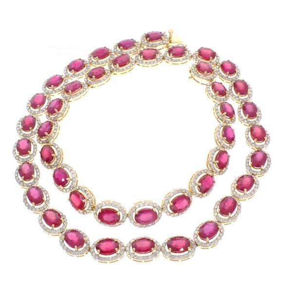 APP: 28k *14kt Gold, 49CT Oval Ruby & Diamond Necklace