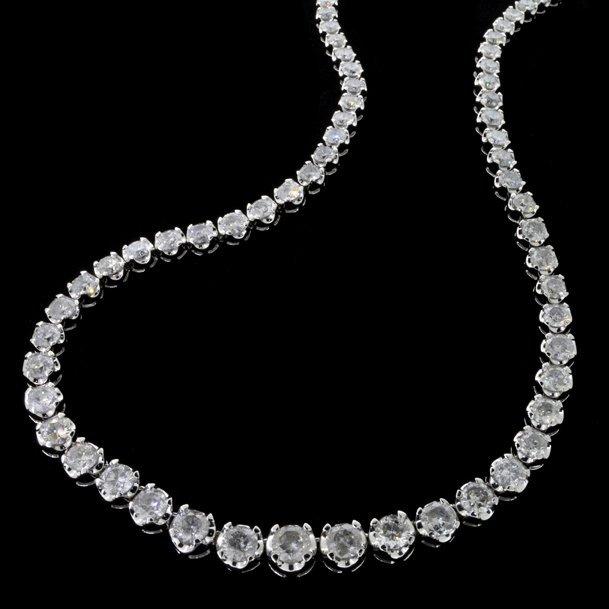 APP: 121k *14 kt White Gold 26CT Diamond Necklace