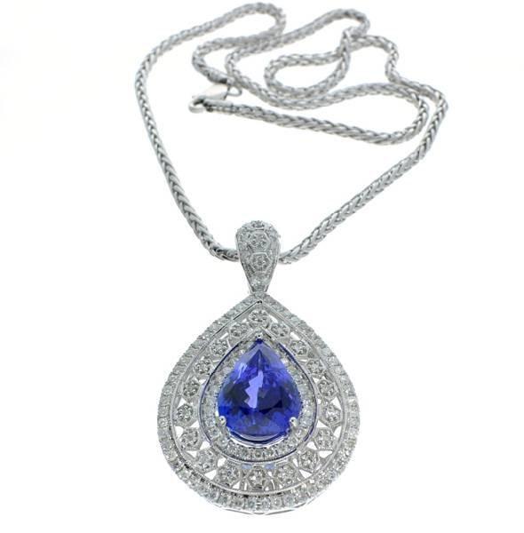 APP: 42k *Tanzanite & Diamond w/Chain Pendant