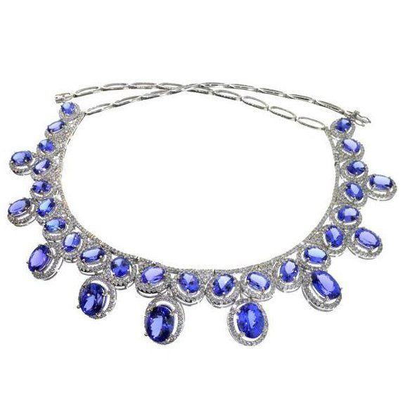 APP: 109k *14kt White Gold Tanzanite & Diamond Necklace