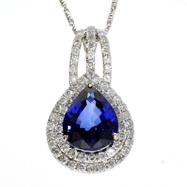 APP: 9k *14kt White Gold, Sapphire & Diamond Necklace