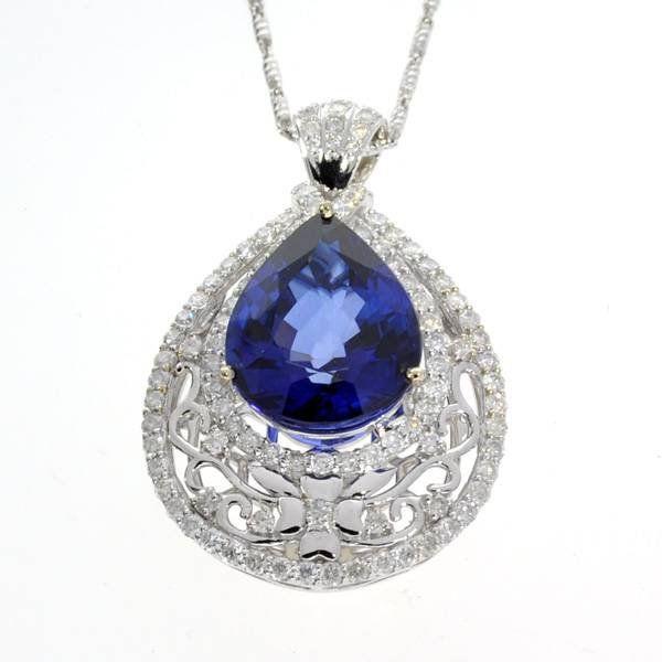 APP: 8k *14kt White Gold, Sapphire & Diamond Necklace