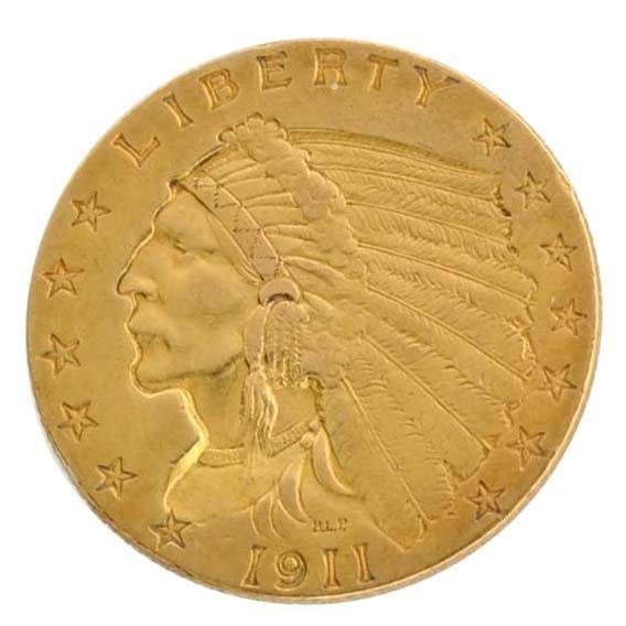 1911 $2.5 U.S Indian Head Type Gold Coin - Investment