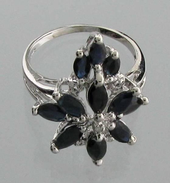 APP: 2k 3CT  Marquise Cut Sapphire & Sterl Silver Ring