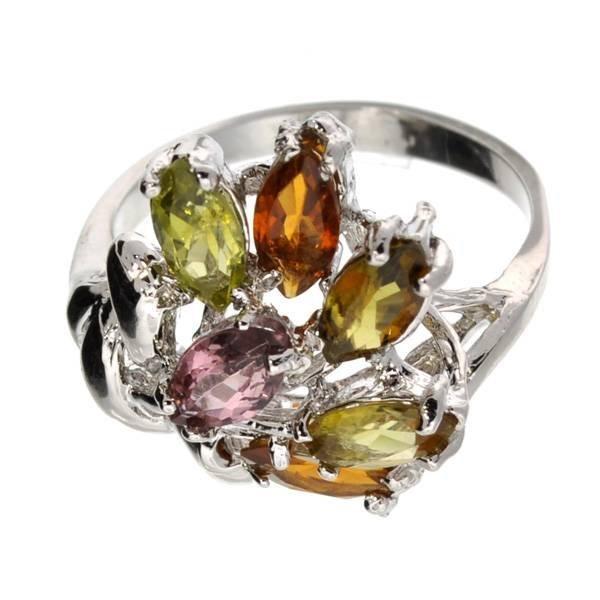 1CT  Multi-Color Quartz & Over Silver Ring