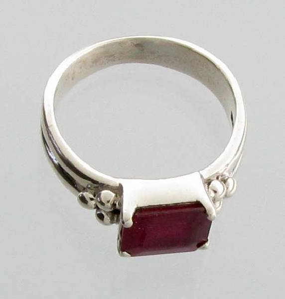 APP: 3k Sebastian 2CT  Emerald Cut Ruby & Silver Ring