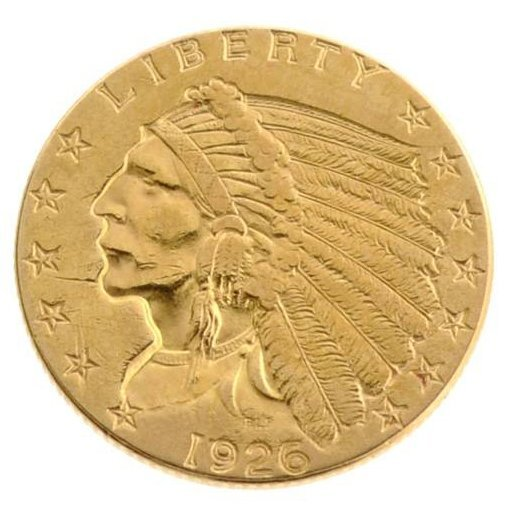 1926 $2.5 US Indian Head Type Gold Coin - Investment