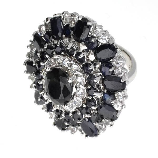 APP: 14k 16CT  Sapphire Platinum Over Sterl Silver Ring