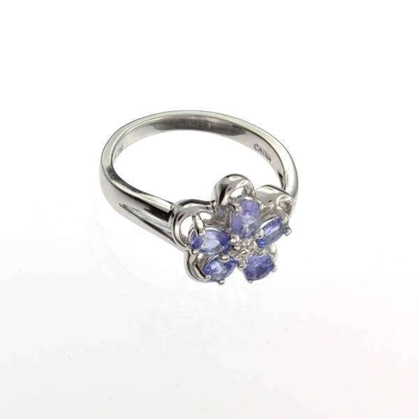 APP: 1k 0CT  Tanzanite & Platinum Sterling Silver Ring