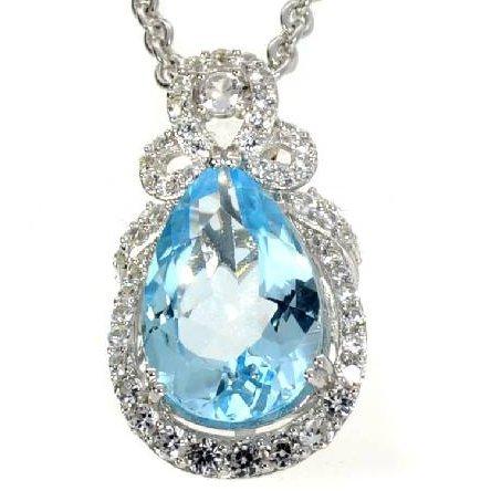 APP: 5k 18CT  Oval Cut Topaz & Sapphire Silver Necklace