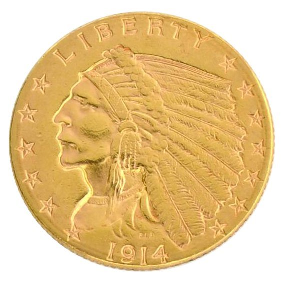 1914-D $2.5 U.S Indian Head Type Gold Coin - Investment