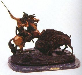 "Reissue Bronze Sculpture ""Buffalo Hunt"" By Theodore Bau"